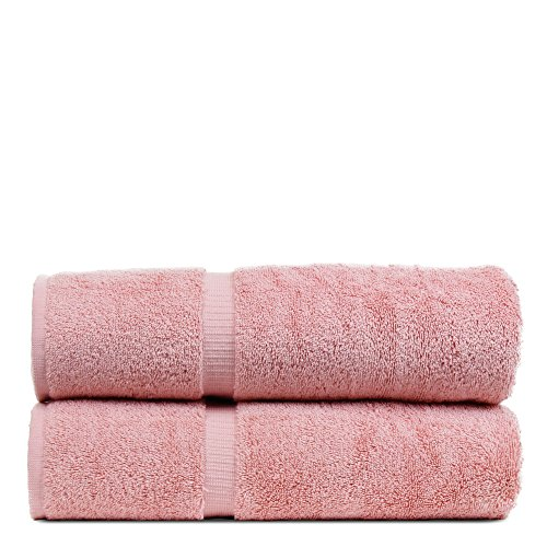 BC BARE COTTON Luxury Hotel & Spa Towel Turkish Cotton Bath Towels - Pink - Dobby Border - Set of 2 (Bath Towels Pink)