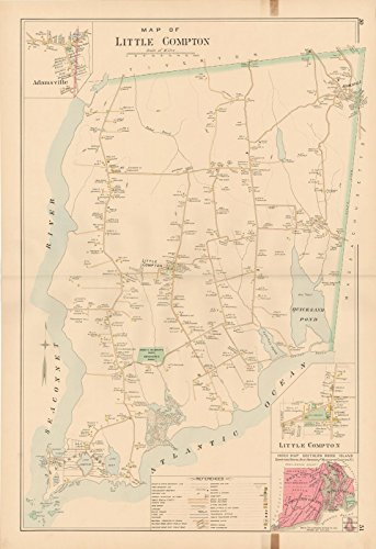 Historic Pictoric Map | Atlas of Southern Rhode Island, Little Compton 1895 | Vintage Poster Art Reproduction | 24in x 18in