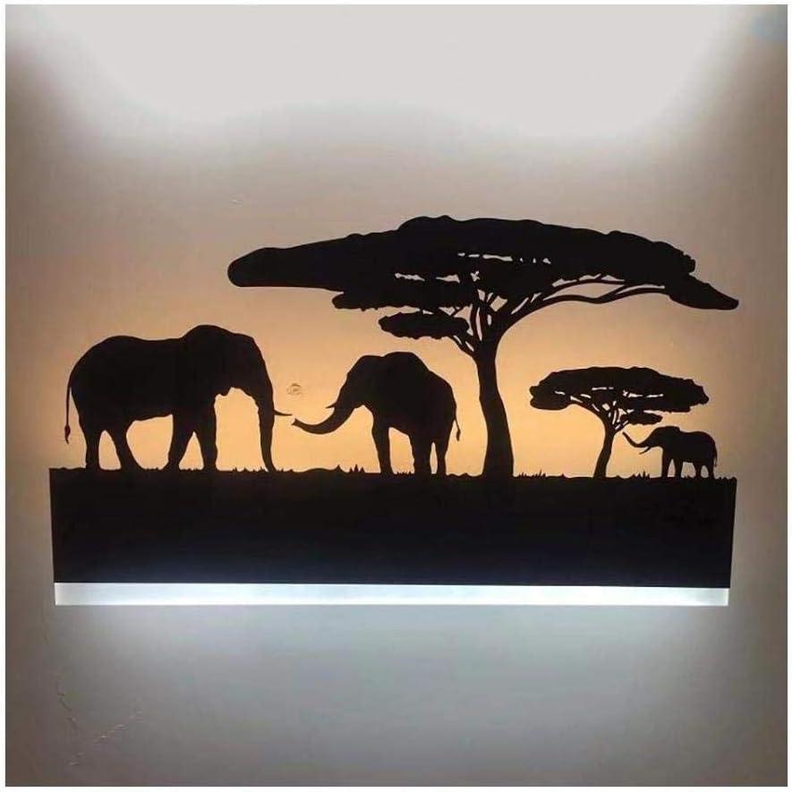 AXYQ Augrous 12 W LED Applique Murale Fer /Él/éphant Lumi/ère Corps Applique Murale pour Chambre Salon D/écoration L/éger