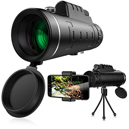 LAL Monocular Telescope,Portable Dual Focus Night Vision Spotting Scope, 40x60 Zoom Telescope, Waterproof, Fog-Proof, HD BAK4 Prism with Phone Clip and (Portable Night Vision Scope)