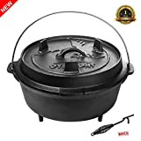 Overmont 9 Quart Camp Dutch Oven Pre Seasoned Cast Iron Pot and Lid with Lid Lifter Handle for Camping Cooking BBQ Baking
