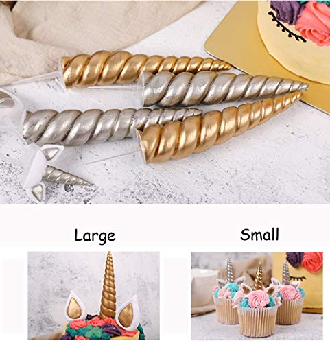 The Silver Gold Unicorn Birthday Cake Topper Decor Party Small Cute Baby Kids Unicorn Horn Cake Banner Stand Mini Decorations Decal Decorating kit Glitter Rainbow Pop Supplies (Upgrade Small, Gold) ()