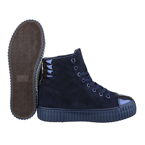 Ital-Design High-Top Sneaker Damenschuhe High-Top Schnürer Schnürsenkel Freizeitschuhe Dunkelblau