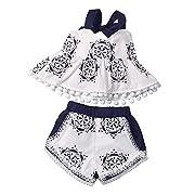 GRNSHTS Baby Girls Blue and White Pottery Print Halter Pom Pom Short Set Tops + Shorts (70 cm/0-3 Months, Blue and White Pottery)