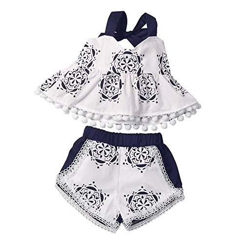 Blue Summer Shorts (GRNSHTS Baby Girls Blue and White Pottery Print Halter Pom Pom Short Set Tops + Shorts (70 cm/0-3 Months, Blue and White Pottery))