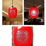 Outgeek Ceramic Chandelier, Lamp Shade Vintage Lantern Light Shade Chandelier for Home