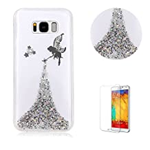 For Samsung Galaxy S8 Case Cover [with Free Screen Protector],Funyye Luxury Bling Glitter Soft TPU Silicone with Crystal Fairy Angel Girl Pattern Protective Case for Samsung Galaxy S8-Silver