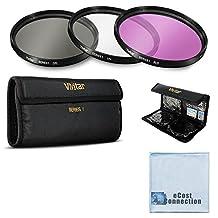 Vivitar 3 Piece UV, CPL, FLD 52mm 52mm Filter Kit for for Nikon 1J1, 1V1, Df, D70, D90, D300, D300S, D600, D610, D700, D3000, D3100, D3200, D5000 Cameras &More + Microfiber Cloth