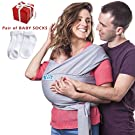 Premium Baby Wrap Carrier Sling Natural Cotton Nursing Baby Holder, Lightweight Comfortable Breastfeeding Sling for Newborns Soft Breathable Safe Wrap Hold, Gift Set of Socks by BandyBaby