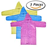 Paxcoo 3 Pcs Portable Raincoat Rain Poncho with Hoods and Sleeves in 3 Different Colors