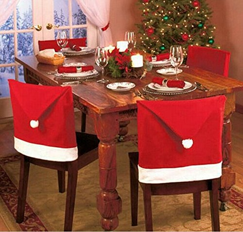 JCare 6 Pcs/Pack Santa Claus Red Hat Chair Covers Christmas Decoration Restaurant Kitchen Dining Table Decor Home Party by JCare