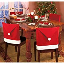 JCare 6 Pcs/Pack Santa Claus Red Hat Chair Covers Christmas Decoration Restaurant Kitchen Dining Table Decor Home Party