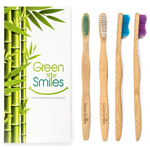 (Natural Organic Bamboo Toothbrush - Biodegradable Wood Soft BPA Free with Colored Bristles - Kids and Adults - Pack of Four - By Green Smiles)