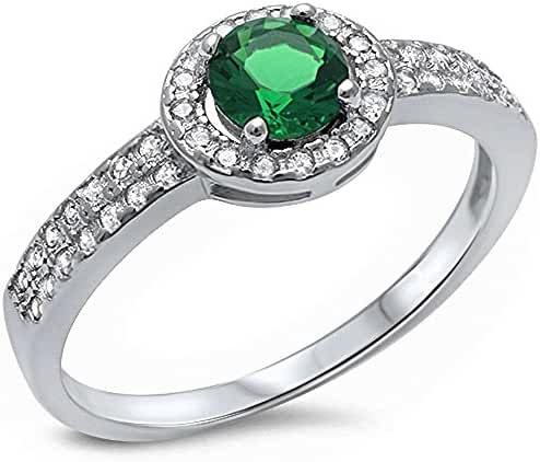 Halo Style Simulated Green Emerald & Cubic Zirconia .925 Sterling Silver Ring Sizes 5-10