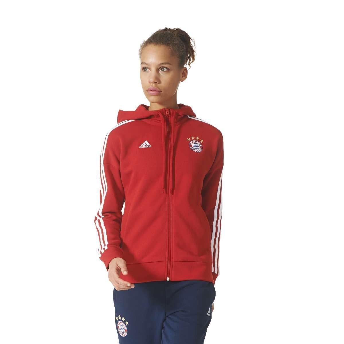 Adidas FCB 3S FZ HD W FC Bayern Monaco, Felpa Donna, Rosso (Rojfcb/Bianco), XL BS0133