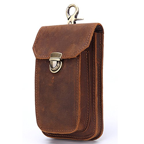Gendi Custodia in pelle vera borsa in pelle vera borsa da uomo EDC Camping Cintura di trekking per iPhone 6S Plus borsa porta telefono cellulare 5 pollici