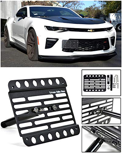 (Extreme Online Store Replacement for 2016-Present Chevrolet Camaro RS SS ZL1 | Mid Sized Version 1 Front Bumper Tow Hook License Plate Relocator Mount Bracket EOS Plate Tow-409)