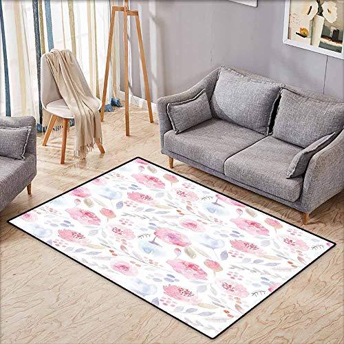 Bedroom Rug,Watercolor Delicate Spring Pattern Blooming Roses Buds Leaves Feminine Romantic,Super Absorbs Mud,4