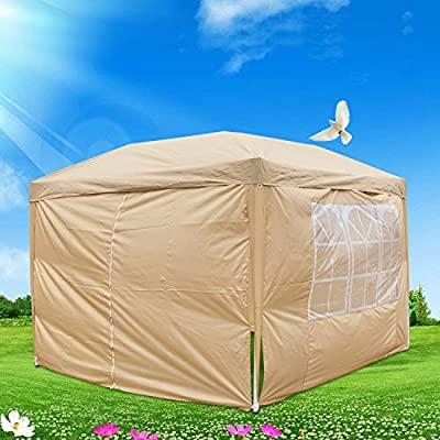 Festnight 10ft x 10ft Garden Outdoor Gazebo Canopy 4 Sides Removable Walls with 2 Door and Carrying Bag Heavy Duty Patio Party Wedding Tent BBQ Shelter Pavilion Cater Events Beige: Sports & Outdoors