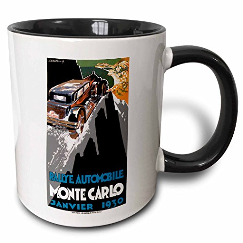(3dRose BLN Vintage Automobiles and Racing - Vintage Rallye Automobile Monte Carlo Janvier 1930 Auto Racing Poster - 15oz Two-Tone Black Mug (mug_126174_9))