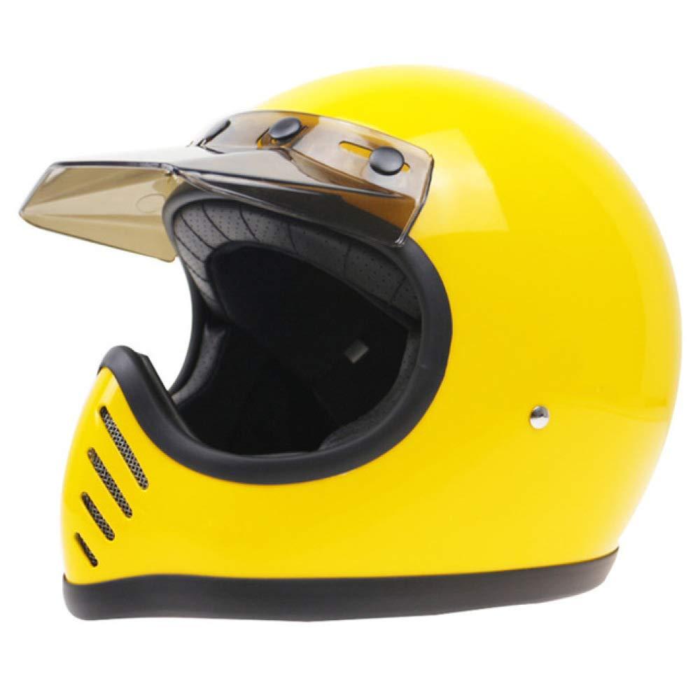 Casco de conducci/ón Retro Racing Casco de Motocicleta Estuche de Fibra de Vidrio Seguridad Resistente Negro L