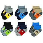 Liwely 6 Pairs Baby Boys Socks, Ankle socks for 3 - 12 Months Infants, Sneaker socks
