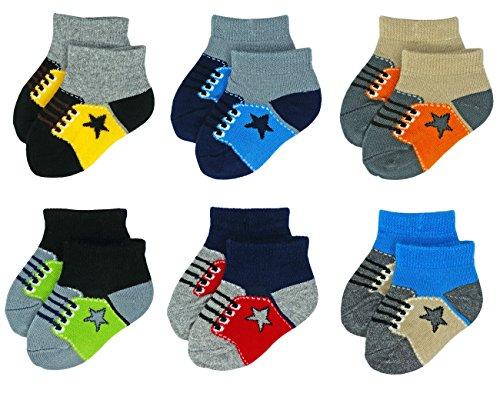 Liwely 6 Pairs Baby Boys Socks, Ankle socks for 3 - 12 Months Infants, Sneaker - Socks Sneaker Boys