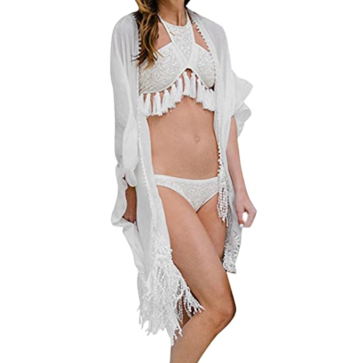 bc685e22be929 Amazon.com  Kehen Women Bikini Cover up Beach Cardigan Swimwear Kimono Bathing  Suit Open Front White X-Large  Clothing