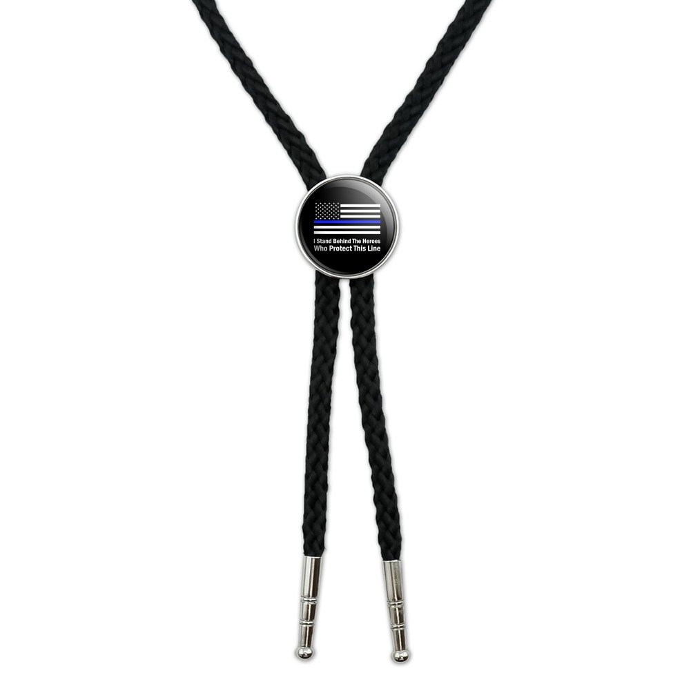 I Stand Behind the Heroes Who Protect This Line Thin Blue American Flag Western Southwest Cowboy Necktie Bow Bolo Tie GRAPHICS & MORE