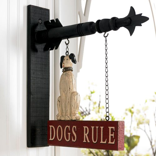 Dogs Rule Hanging Sign - Decorative Plaque for Arrow Hanger