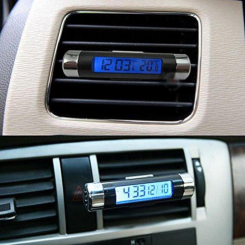 NOPNOG Thermometer Uhr 2 in 1 Auto Ornament blau Hintergrundbeleuchtung Digital Display Auto Innenraum Dekoration