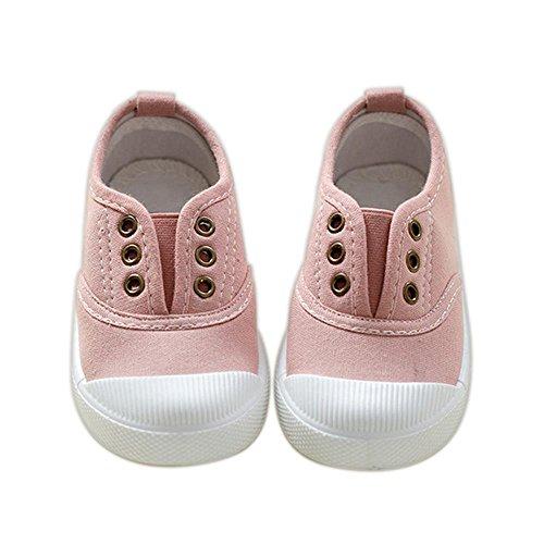 ALUK- Zapatos de niños de lona Zapatos blancos pequeños Zapatos de bebé Zapatos de estudiantes ( Color : Pink , Tamaño : 22 ) Pink
