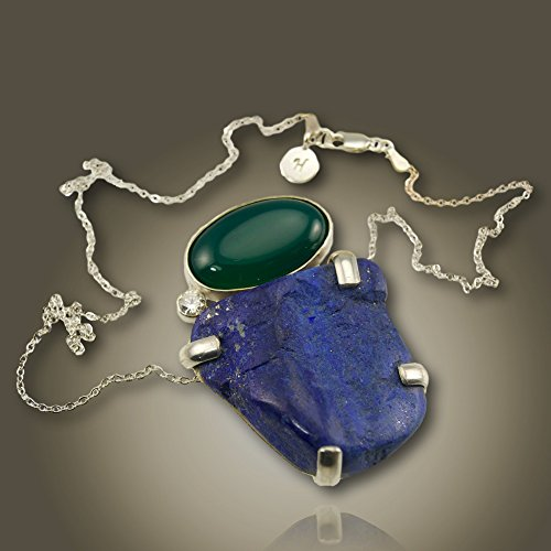 One-of-a-kind Necklace- Lapis and Bloodstone Pendant- 18 inch Sterling Silver