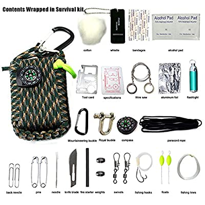 23 Piece in 1 Emergency Survival Kits Paracord Rope 550 Grenade for Outdoor Tools from AIJIAO