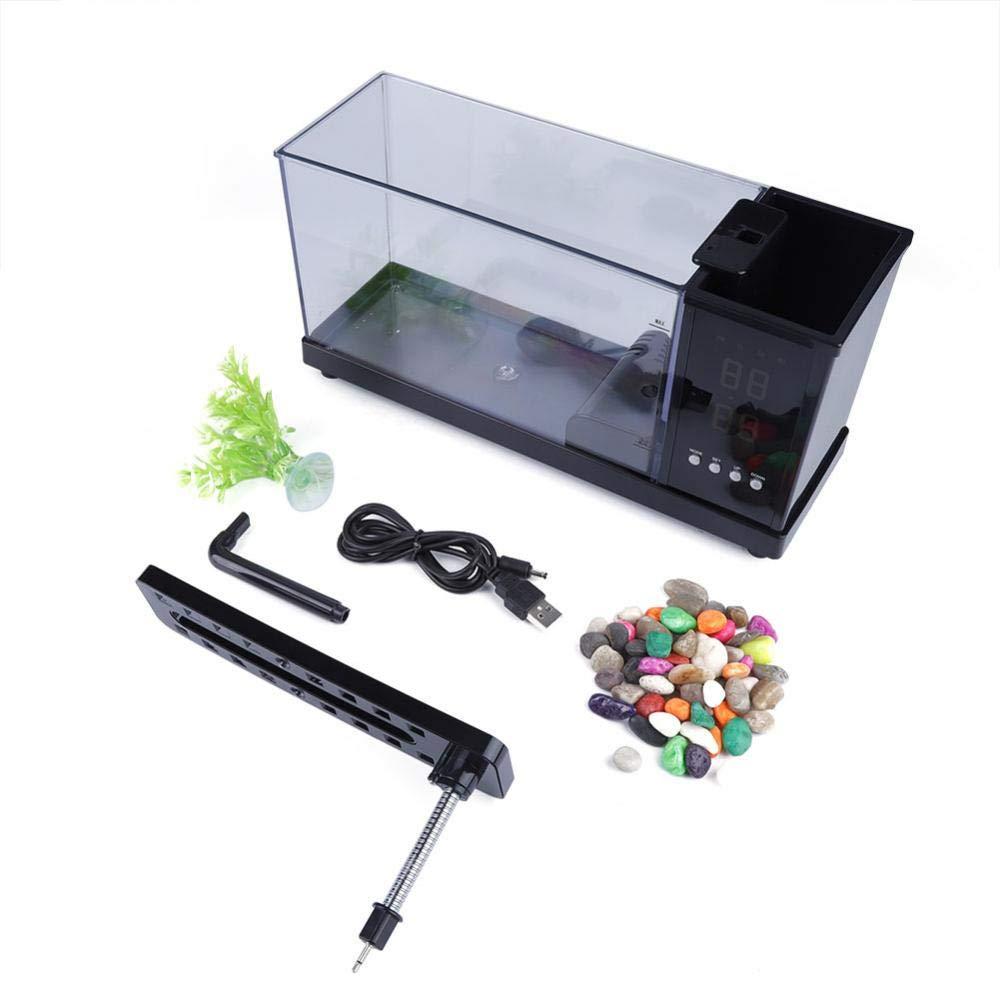 Black Multifunctional USB Rechargeable Mini Fish Tank,Electronic Aquarium Mini Fish Tank with Clock Function LED Light(Black)