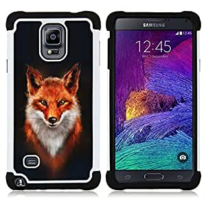 - fox white orange red art portrait painting/ H??brido 3in1 Deluxe Impreso duro Soft Alto Impacto caja de la armadura Defender - SHIMIN CAO - For Samsung Galaxy Note 4 SM-N910 N910
