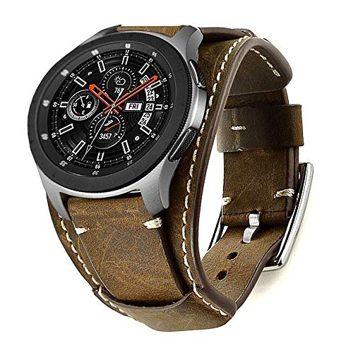 - Leotop Compatible with Samsung Galaxy Watch 46mm/Gear S3 Frontier/Classic Bands, 22mm Replacement Genuine Leather Cuff Strap with Stainless Steel Metal Buckle for Men Women (Coffe)