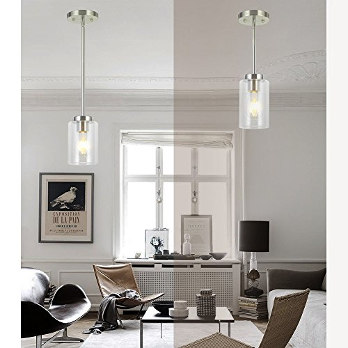 VINLUZ One Light Chandeliers Modern Clear Glass Pendant Lighting Brushed Nickel Dining Room Fixtures Hanging