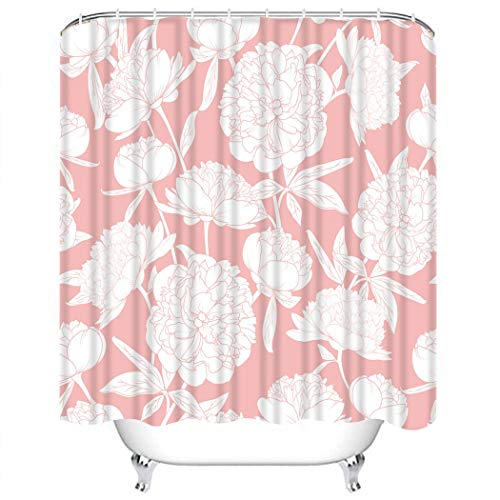 Wesbin Shower Curtain Set Paeonia Blooming Flowers Buds Bouquet Garland Stem Leaves Peony Rose Flo Bathroom Decor Set with 12 Hooks 72X78 Inches Waterproof Polyester Fabric Shower Curtain for Bathroom