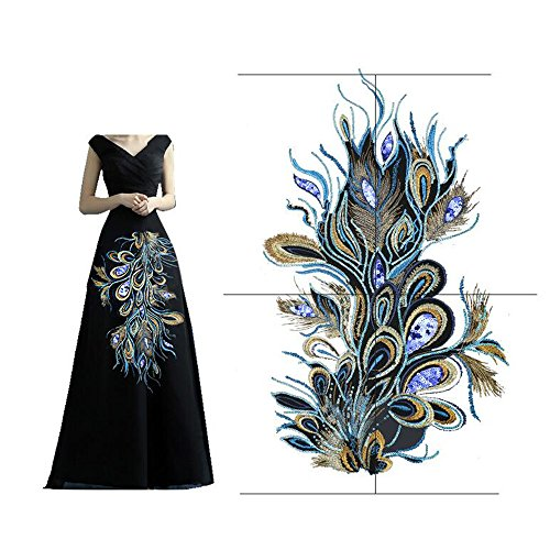 Elegant Peacock Phoenix Feather Mesh Embroidery Applique Decoration Cloth Patches Cheongsam Garment (Feather Gold Sequin)