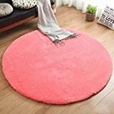 WAN SAN QIAN- Living Room Round Carpet Modern Simple Bedroom Carpet Home Economy Rug Solid Color Rug Sofa Carpet Rug ( Color : Pink , Size : 160x160cm )