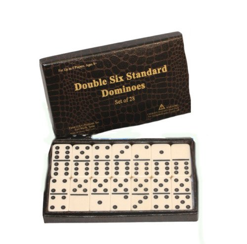Double Six Domino Dominoes Game Set 28 Ivory/cream Tiles with Black Dots