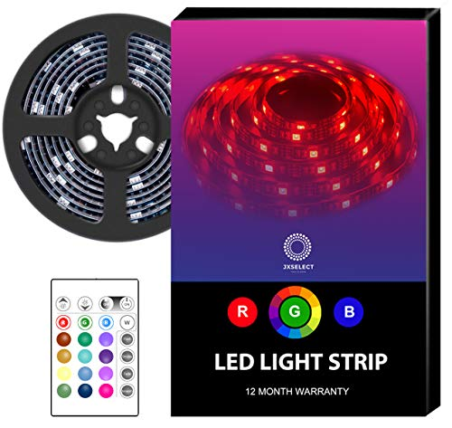 LED Light Strip Battery Powered LED Strip Lights with 24 Key RF Remote - RGB LED Strip Rope Lights USB TV Backlight Kit,6.56ft - Waterproof Flexible LED Strip Lighting Battery Operated LED Tape Light