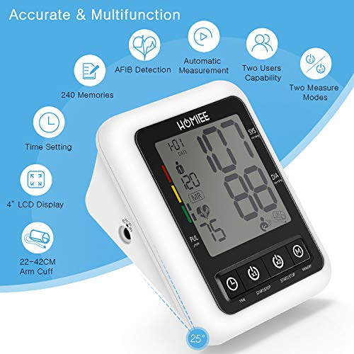 "Large Cuff Blood Pressure Monitor with AFIB Detection, HOMIEE 9-17"" Large Arm Cuff Blood Pressure Machine, 4"" LCD Display Digital Blood Pressure Meter, 2 Users 240 Memories, 4 AA Batteries Included"