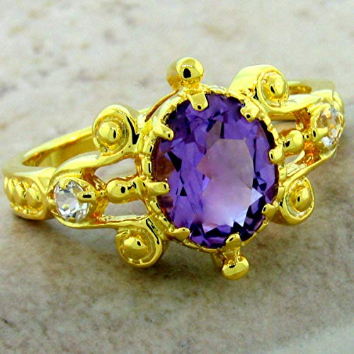 - Genuine Amethyst Antique Style 24K Gold & 925 Sterling Silver Ring Size 7 KN-4704