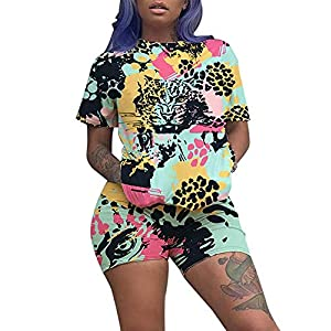 Two Piece Outfits for Women Shorts – Summer Printed T Shirts and Shorts Athletic Tracksuits Set