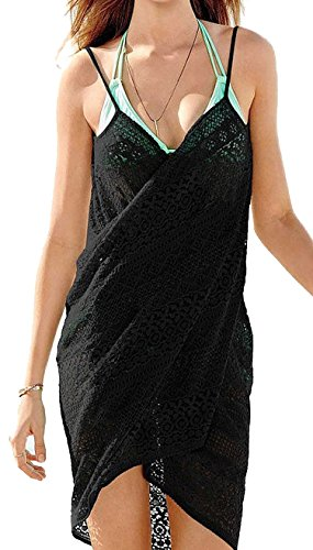 Spikerking Women's Sexy Beachwear Sarongs style Lace Bikini Cover up,Black (Sarong Beachwear)