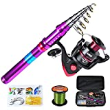 PROBEROS Fishing Rod and Reel Combos Telescopic Fishing Pole Spinning Reels and Carrier Bag Set for Travel Saltwater Freshwater Fishing Gear Full Kit 8' Rod + 350 Reel
