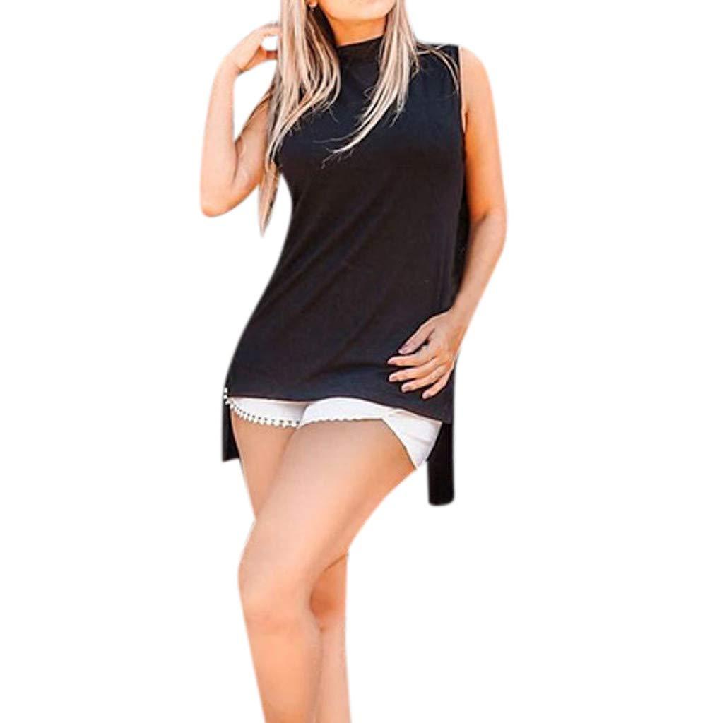Women Summer Casual Solid Round Neck Bandage Backless Irregular Shirt Top Black