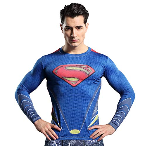 GYm GaLa Men's Superman 3D Printed Compression Sport Fitness T-Shirt (3XL, Blue) -